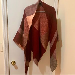 Pink and maroon blanket scarf